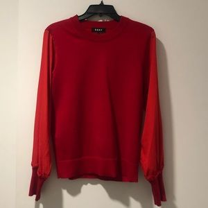 DKNY red top with beautiful sleeves